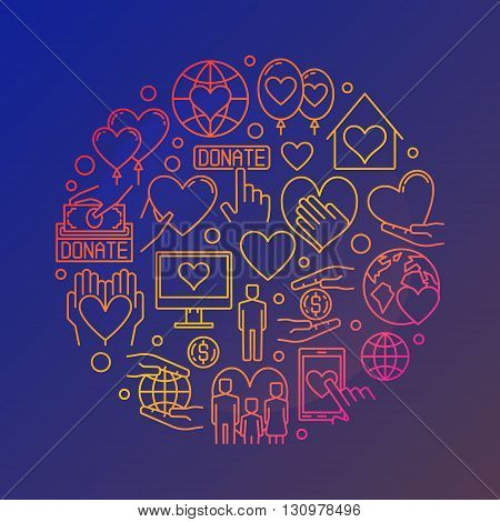 Colorful charity illustration. Vector round symbol made with outline donation, charity, volunteering icons