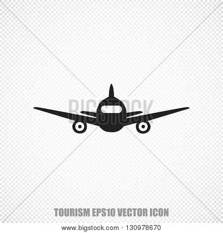 The universal vector icon on the tourism theme: Black Aircraft. Modern flat design. For mobile and web design. EPS 10.