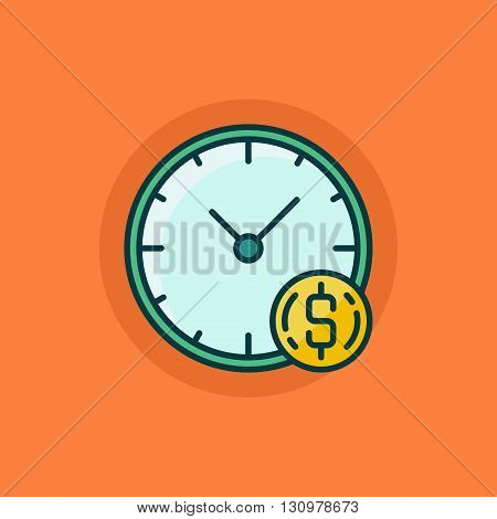 Time is money flat icon - vector concept colorful symbol made with clock and coin on orange background