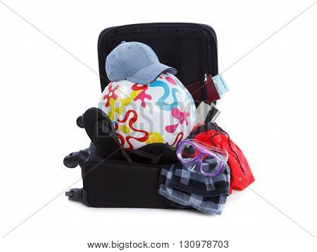 Suitcase Packed to Vacation, Open Black Luggage Full of Clothes, Travel Items Baggage, Trip Concept