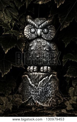 Owl Statue with Ivy
