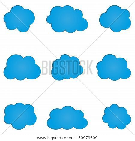 Set of simple abstract blue cloud. Nine isolated elements.