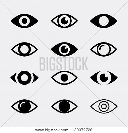 Eyes vector icon set. Collection symbols of open human eye. Eyes icons isolated on white background. Look and vision icons. Eye signs in the flat style for website and apps.