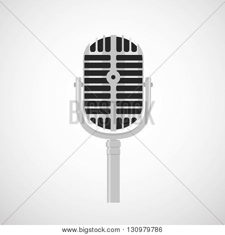 vintage stage microphone icon, vector flat styled