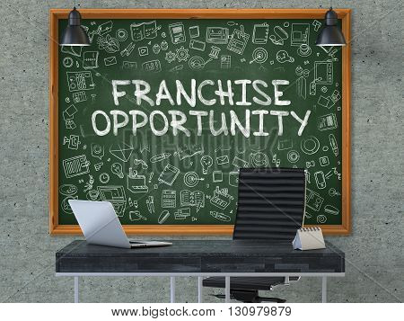 Hand Drawn Franchise Opportunity on Green Chalkboard. Modern Office Interior. Gray Concrete Wall Background. Business Concept with Doodle Style Elements. 3D.