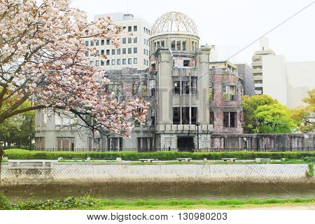Atomic bomb dome at Hiroshima in spring season Japan