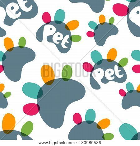 Vector Seamless Pattern With Colorful Paws And Hand Drawn Letters. Concept For Pet Shop, Zoo Shop, P