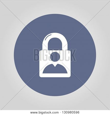 lock icon and man. Flat design style eps 10