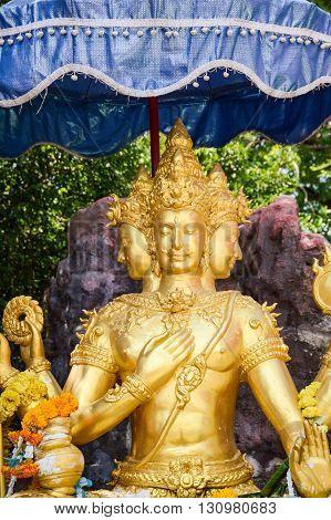 beautiful gold brahma Statue in wat Saman Rattanaram