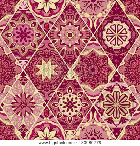 Seamless pattern vintage decorative elements. Hand drawn geometric background. Islam, Arabic, Indian, ottoman motifs. Perfect for printing on fabric or paper. Vinous glod tone.