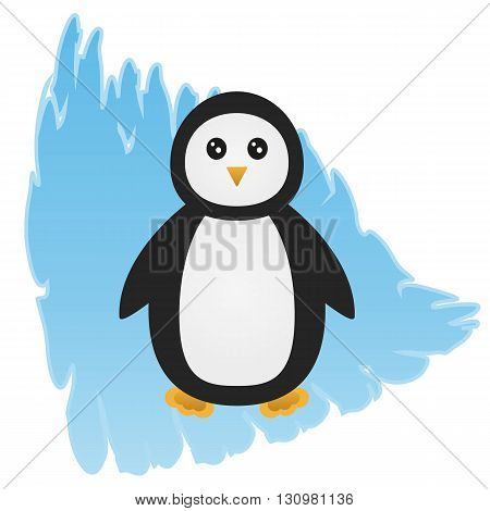 Cartoon penguin on an abstract background depicting an ice floe. Isolated.