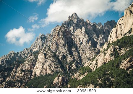 Mountain range on Corsica on a sunny day