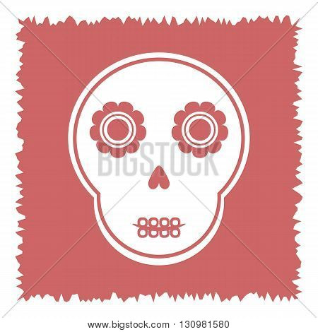 Cute skull with abstract flowers on a square ragged pink background. Isolated.