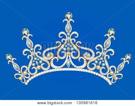 Illustration of beautiful female diadem with precious stones