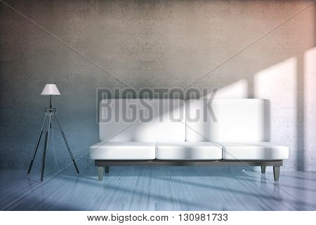 Concrete room interior with white sofa and floor lamp. 3D Rendering