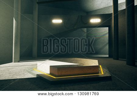Abstract concrete interior with illuminated yellow hexagonal projection in the middle. 3D Rendering