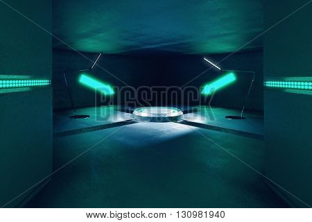 Abstract concrete interior with projection and illuminated turquoise arrows pointing at it. 3D Rendering