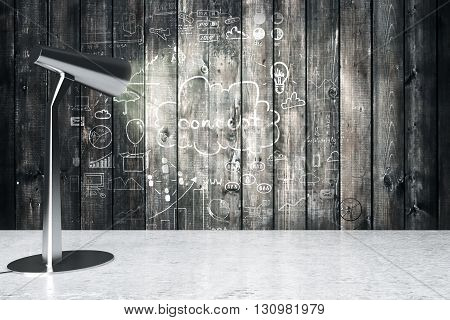 Table lamp illuminating aged wooden wall with business concept. 3D Rendering