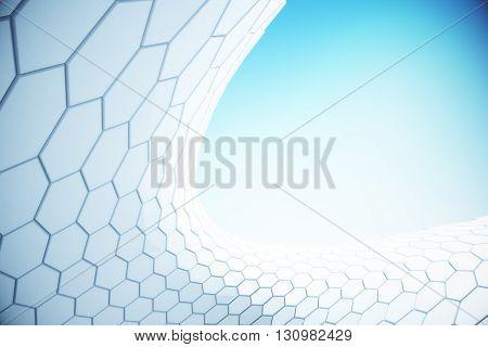 White hi-tech hexagon pattern in the sky. 3D Rendering