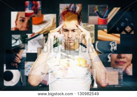Young man thinking about life with thought images aroud him on dark background