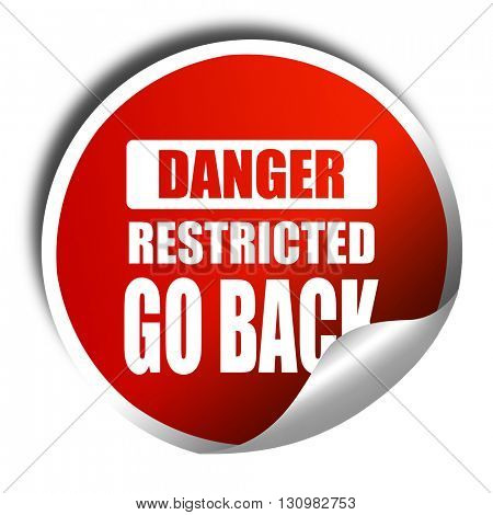 Go back sign, 3D rendering, red sticker with white text