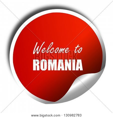greetings from romania, 3D rendering, red sticker with white tex