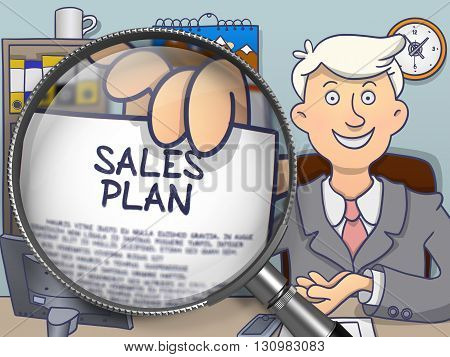 Sales Plan. Businessman Shows Paper with Concept through Magnifying Glass. Multicolor Doodle Style Illustration.