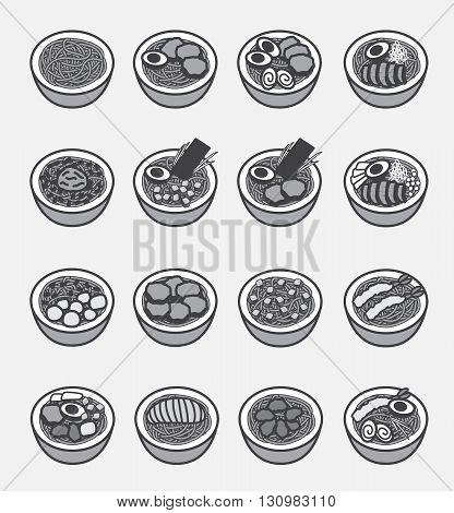 ramen icon (Japanese noodle) on white background