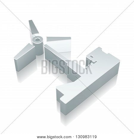 Manufacuring icon: 3d metallic Windmill with reflection on White background, EPS 10 vector illustration.