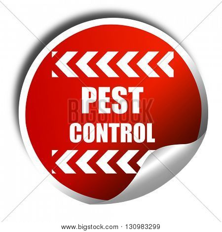 Pest control background, 3D rendering, red sticker with white te