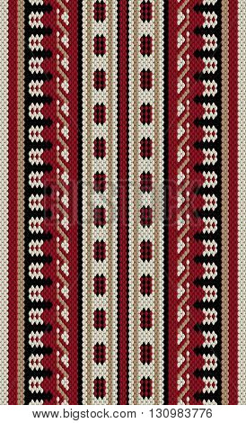 Crimson Red And Beige Arabian Sadu Rug Pattern