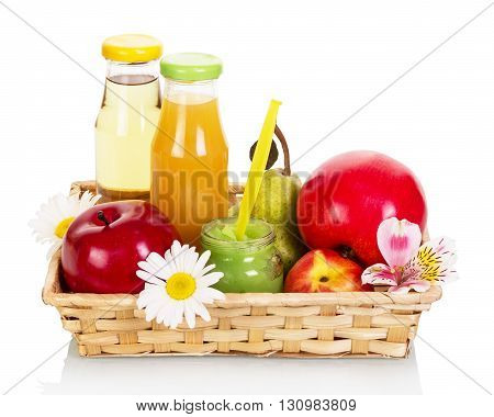 Baby food basket: juices, purees and fruit isolated on white background.