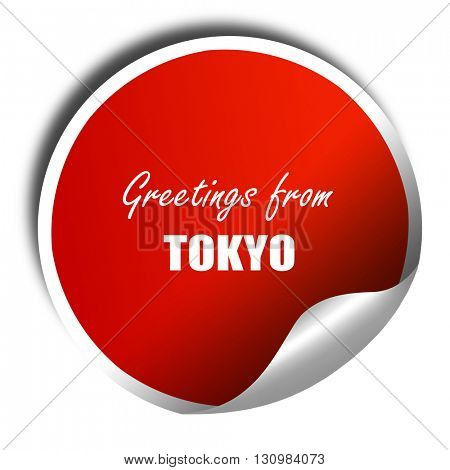 Greetings from tokyo, 3D rendering, red sticker with white text