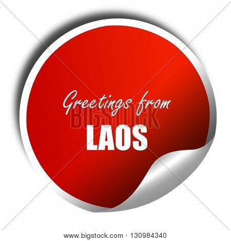 Greetings from laos, 3D rendering, red sticker with white text