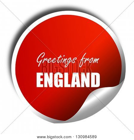 Greetings from england, 3D rendering, red sticker with white tex