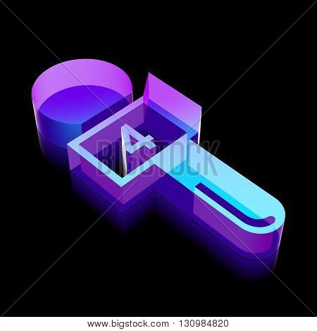 News icon: 3d neon glowing Microphone made of glass with reflection on Black background, EPS 10 vector illustration.