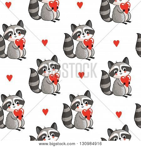 Vector seamless pattern with cute raccoon holding a heart in his hands on a white background. Perfect for greeting cards for Valentine's Day.