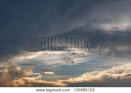 Wonderful dark raincloud sky in summer day