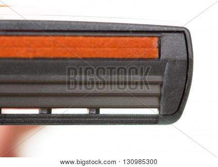 Three razor blade close up isolated on white background.