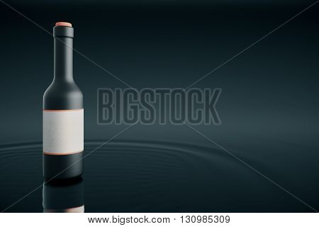 Bottle with blank lable placed on water and dark background. Mock up 3D Rendering