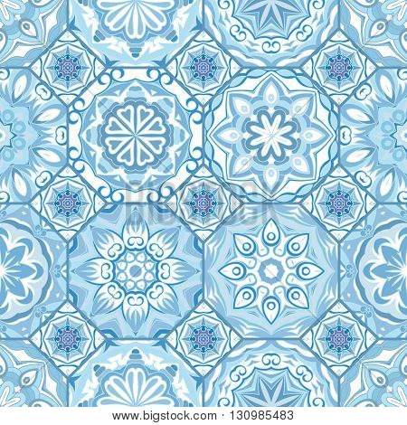 Gorgeous floral tile design. Moroccan or Mediterranean octagon tiles, tribal ornaments. For wallpaper print, pattern fills, web page background, surface textures. Indigo blue white teal aqua
