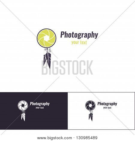 Logo design for the photographer on a white background. And two additional variants of black on white and white on black. It is based on objective and Totem Dreamcatcher.
