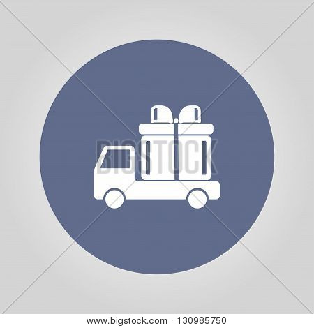 truck with a gift vector icon EPS