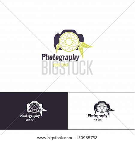 Logo design for the photographer on a white background. And two additional variants of black on white and white on black. It is based on the camera and the Totem Dreamcatcher.
