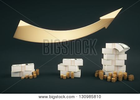 Financial growth concept with dollar banknote stacks coins and upward arrow on dark backrgound. 3D Rendering