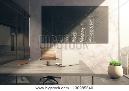 Office interior with workplace and business chart on blackboard. 3D Rendering