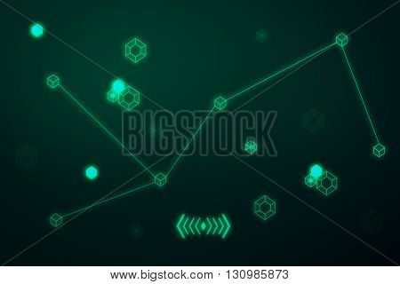 Tech patterns on green background, close up