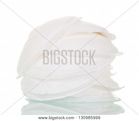 Absorbent pads for the chest isolated on white background.