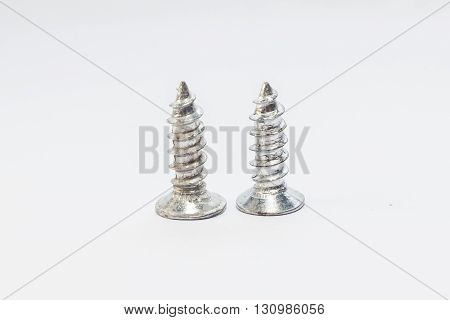Screws for industry and manufacturing with white background