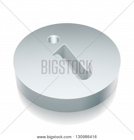 Web design icon: 3d metallic Information with reflection on White background, EPS 10 vector illustration.